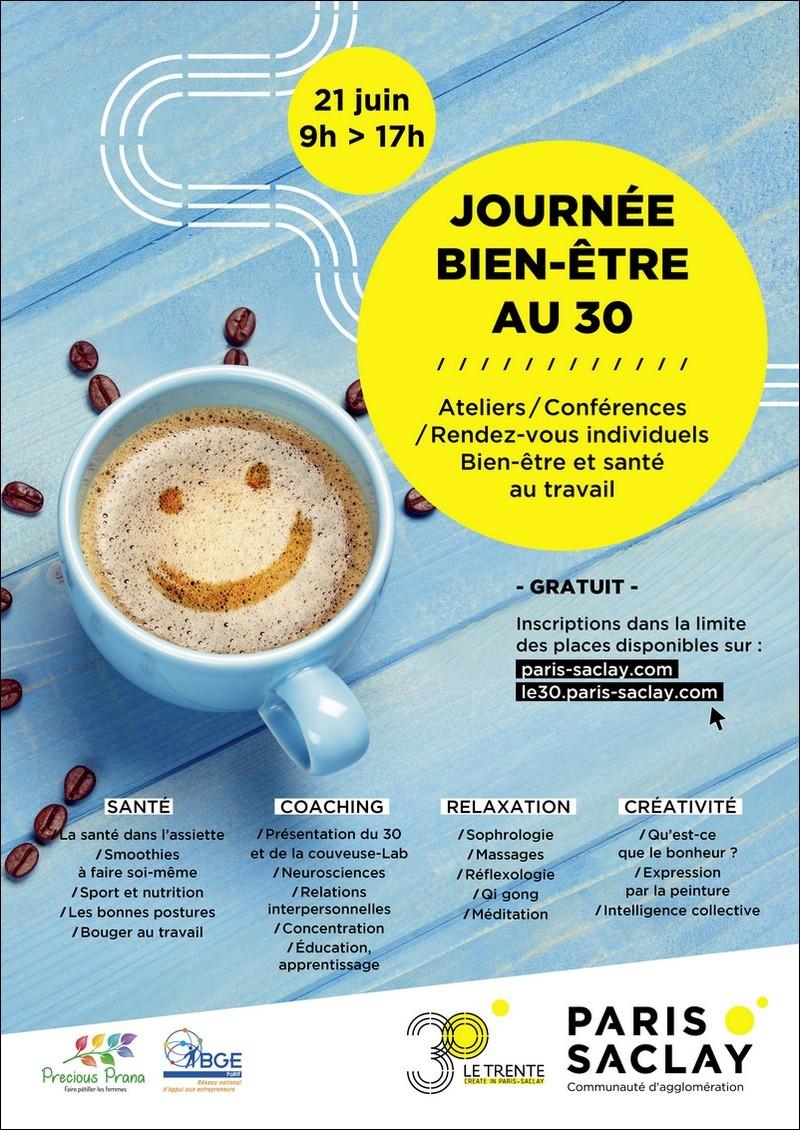 Affiche de la Journée du Bien-être au travail, organisée par la Communauté d'agglomération de Paris-Saclay